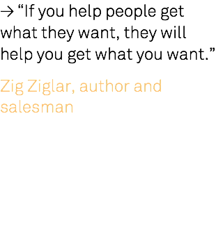 "≥ ""If you help people get what they want, they will help you get what you want."" Zig Ziglar, author and salesman"